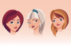 Vector illustration of girls faces with different hairstyles, hair colors Stock Illustration