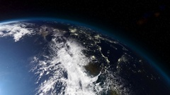 Close up on the Northern Hemisphere as the earth spins from day into Night Stock Footage