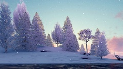 Snowy firs and frozen river at scenic sunset or sunrise 4K Stock Footage