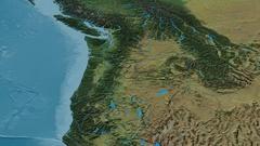 Revolution around Cascade mountain range - masks. Topographic map Stock Footage