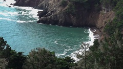 Pacific coast highway point of view over cove tight Stock Footage
