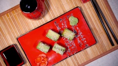 Fresh Green Sushi On The Plate Stock Footage