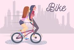 Vector illustration of two cute fashionable girls riding bike Stock Illustration