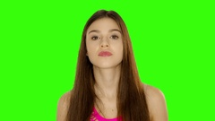 Chromakey footage Young woman with her finger up, warns of retaliation Stock Footage