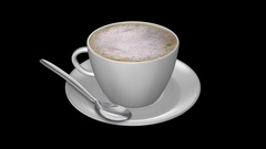 Coffee Cup - Cappuccino Foam Spinning Loop - Alpha Channel Stock Footage