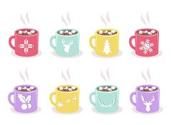 Vector set of mugs with cocoa, marshmallow, winter holiday symbols Stock Illustration