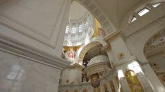 Orthodox church interior with wide angle lens Stock Footage
