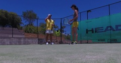 Tennis serve coaching lesson Stock Footage