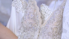 Luxury wedding gown in wedding boutique Stock Footage