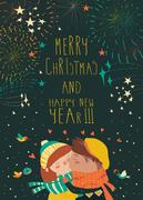Card for lovely christmas with kissing couple and firework Stock Illustration