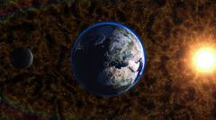 Planet Earth in universe or space, Earth and galaxy in a nebula clouds. Stock Illustration