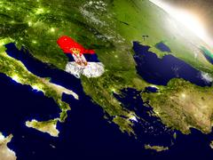 Serbia with flag in rising sun Stock Illustration