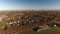 Rising aerial view of Birmingham ciy centre from the outskirts. Stock Footage