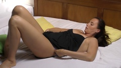 Glamour model in bed - body massage in slow motion  (196) Stock Footage