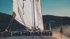 Walk on a sailboat on the high seas Stock Footage