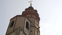 St. Nicholas Church tower, low angle, Leipzig, Germany Stock Footage