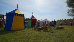 Many colourful tents on the grass Stock Footage
