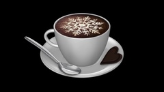 Coffee Cup - Espresso Foam - Latte Art Snowflake - Spinning Loop - Alpha Channel Stock Footage