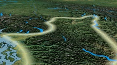 Glide over Cascade mountain range - glowed. Topographic map Stock Footage