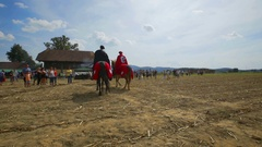 Noblemen on two horses are going across the field Stock Footage