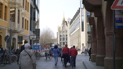 Many people walk in Leipzig old city center, Germany Stock Footage