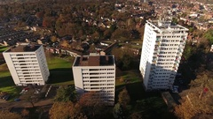 Descending aerial shot of high rise tower blocks. Stock Footage