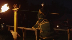Knight Tournament at Night with Fire Stock Footage