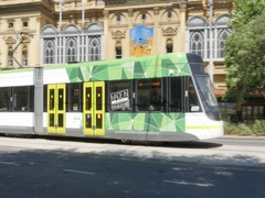 Tram and Princess Theatre on Spring Street, Melbourne, Victoria, Australia Stock Footage