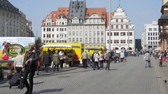 People shop at old town hall market place, Leipzig, Germany Stock Footage