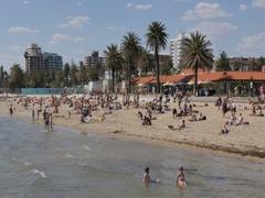 Beach Scene, St Kilda, Melbourne, Victoria, Australia Stock Footage