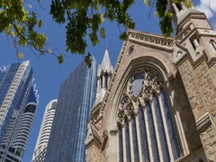 Cathedral of St Stephen and City Skyscrapers, Brisbane, Queensland, Australia Stock Footage