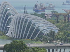 View over Marina Bay and Garden by the Bay, Singapore, South Asia, Asia Stock Footage