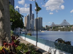 Story Bridge, Brisbane River and City Skyline, Brisbane, Queensland, Australia Stock Footage