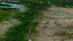 Glide over Cascade mountain range - masks. Satellite imagery Stock Footage