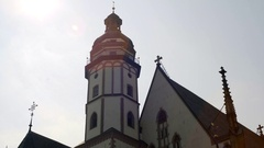 St. Thomas Church tower on a sunny day, Leipzig, Germany Stock Footage