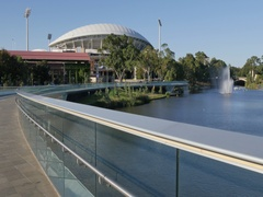 Riverbank Bridge, Adelaide Oval and River Torrens, Adelaide, South Australia, Stock Footage