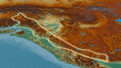 Zoom into Cascade mountain range - glowed. Relief map Stock Footage
