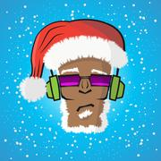 Disc jockey Santa Claus in a hat and a headphone Piirros