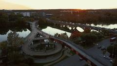 Pfluger Bridge on Lamar Street Downtown Austin Stock Footage