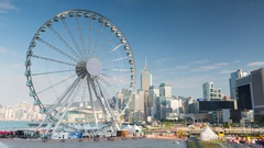 View of ferris wheel, Central, Hong Kong Stock Footage