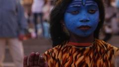 Children painted near Raj Ghat in Varanasi, India Stock Footage