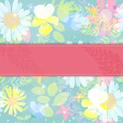 Abstract Natural Spring Background with Flowers and Leaves. Vect Stock Illustration