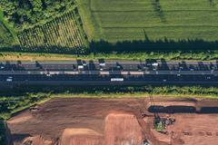 Aerial view of M5 Worcester motorway, Worcester, England, UK Stock Photos