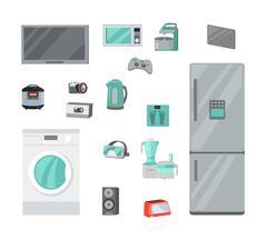 Home Appliances Vectors Set in Flat Design Stock Illustration
