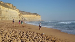 Beach at Gibson Steps, Port Campbell National Park, Great Ocean Road, Victoria, Stock Footage