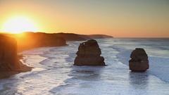 Twelve Apostles at sunrise, Port Campbell National Park, Great Ocean Road, Stock Footage