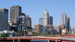 Skyline along Yarra River, Melbourne, Victoria, Australia Stock Footage