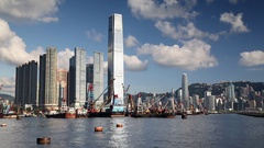 International Commerce Centre (ICC) and Yau Ma Tei Typhoon Shelter, Kowloon, Stock Footage