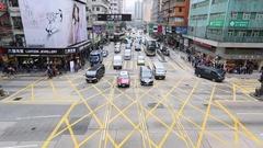 Traffic passing along Nathan Road, Mongkok, Kowloon, Hong Kong Stock Footage