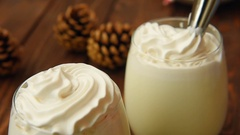Tasty christmas peppermint white hot chocolate Stock Footage